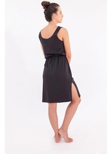 Hays Kadın Bel Bağlama Detaylı Kolsuz Penye Modal Elbise Siyah